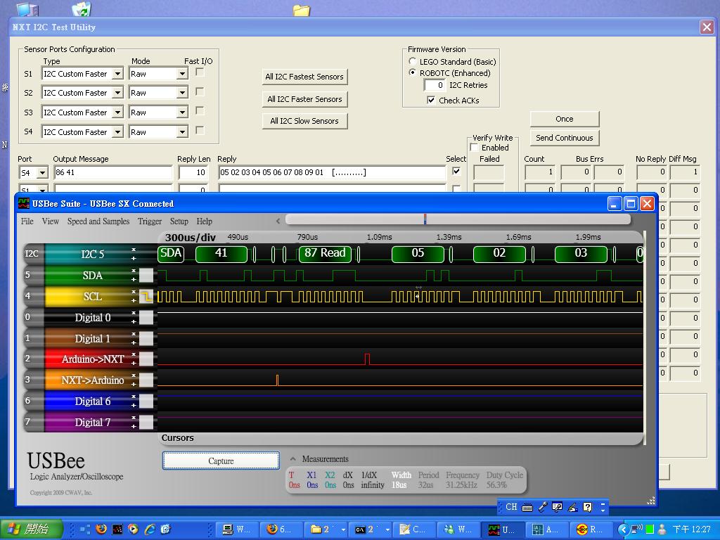 TC_Chu's Point: Arduino to NXT I2C Signal (take 5) Speed Test