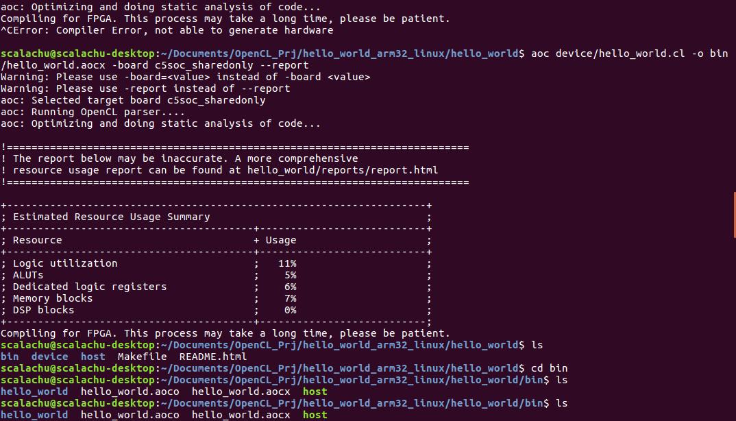 OpenCL Hello_World Example on DE10-Nano use thinkoco