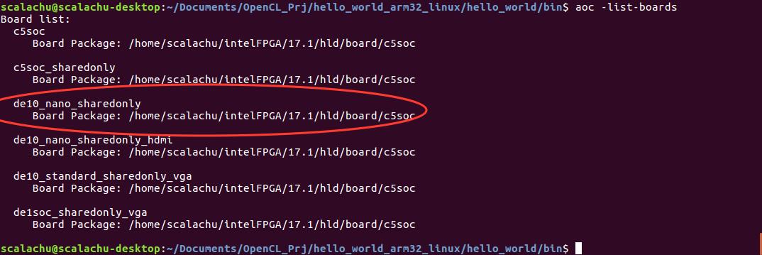 OpenCL Hello_World Example on DE10-Nano use thinkoco@c5soc_opencl